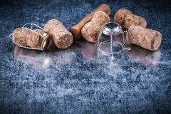 Champagne cork plugs metal twisted wire corkscrew food drink con Royalty Free Stock Image