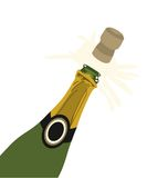 Champagne Cork Popping. Illustration of cork popping out of a bottle of champagne Stock Image