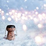 Champagne cork in snow Royalty Free Stock Photo