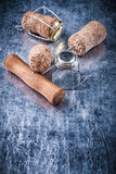 Champagne cork stoppers metal twisted wire corkscrew food drink Stock Image