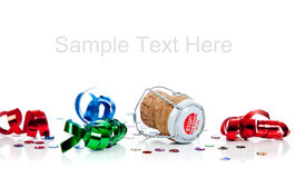 Champagne cork with streamers with copy space royalty free stock photo