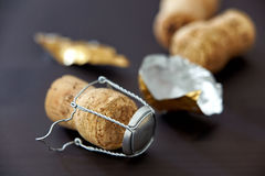 Champagne corks on black background Stock Photography