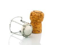 Champagne corks and clasp Royalty Free Stock Images