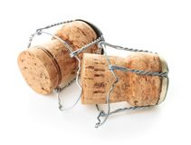 Champagne corks on white background stock photos