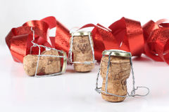 Champagne corks and ribbon Royalty Free Stock Image