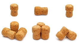 Champagne corks. Set of champagne corks isolated on white background Royalty Free Stock Photography