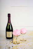 Champagne and Cotton Candy for Valentine`s Day stock photos