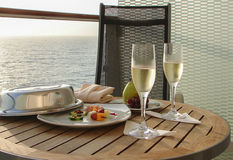Champagne on  cruise Royalty Free Stock Photo