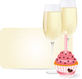 Champagne & cupcake. Vector picture champagne and cupcake Royalty Free Stock Image