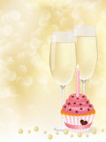 Champagne & cupcake. Vector picture champagne and cupcake Royalty Free Stock Images