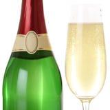 Champagne dans le verre et la bouteille d'isolement Image stock