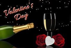 Champagne de pain grillé de Saint-Valentin photos libres de droits