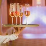 Champagne de portion de serveur sur un plateau Photographie stock libre de droits
