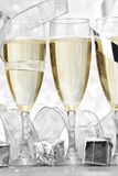 Champagne and decoration Royalty Free Stock Photos