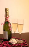 Champagne decoration. Champagne see decoration setting,celebration view stock photo