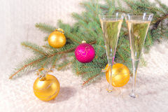 Champagne dei bicchieri di vino Immagine Stock