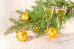 Champagne dei bicchieri di vino Fotografia Stock