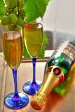 Champagne in den Gläsern und in den Weinstockblättern lizenzfreies stockfoto