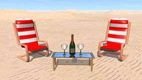 Champagne in the desert Stock Photography