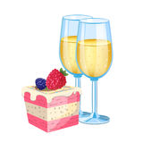 Champagne with dessert Stock Photography