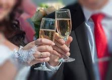 Champagne di cerimonia nuziale Fotografie Stock