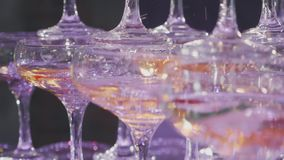 Champagne di versamento del cameriere in vetri alla piramide al rallentatore, primo piano video d archivio