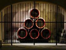 Champagne, die in Mumm in Reims macht Stockbilder
