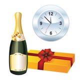 Champagne, doos en horloge. Royalty-vrije Stock Afbeeldingen