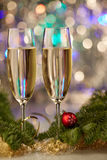 Champagne drink ball tree new year christmas Stock Photography