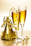 Champagne e anos novos das decorações do partido Foto de Stock Royalty Free