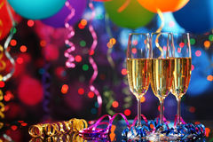 Champagne e balões Fotos de Stock
