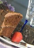Champagne e bolo de chocolate Fotografia de Stock