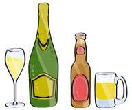 Champagne e cerveja Foto de Stock Royalty Free