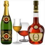 Champagne e cognac Fotografia Stock Libera da Diritti