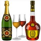 Champagne e conhaque Imagens de Stock Royalty Free