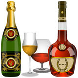 Champagne e conhaque Fotografia de Stock Royalty Free