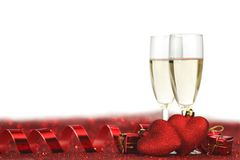 Champagne e corações Fotografia de Stock Royalty Free