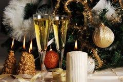 Champagne e decorazione Fotografie Stock