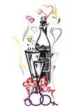 Champagne e due vetri Fotografia Stock Libera da Diritti