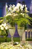 Champagne e flores Imagem de Stock