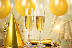 Champagne e fogos-de-artifício Fotografia de Stock