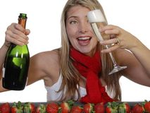 Champagne e fragole Fotografia Stock Libera da Diritti