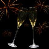 Champagne e fuochi d'artificio fotografia stock