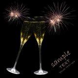 Champagne e fuochi d'artificio fotografie stock libere da diritti