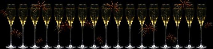 Champagne e fuochi d'artificio fotografie stock
