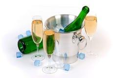 Champagne e ghiaccio Immagini Stock