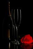 Champagne e levantou-se Foto de Stock