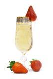 Champagne e morango. Foto de Stock