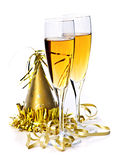 Champagne e nuovi anni di decorazioni Fotografia Stock Libera da Diritti