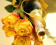 Champagne e rosas Foto de Stock